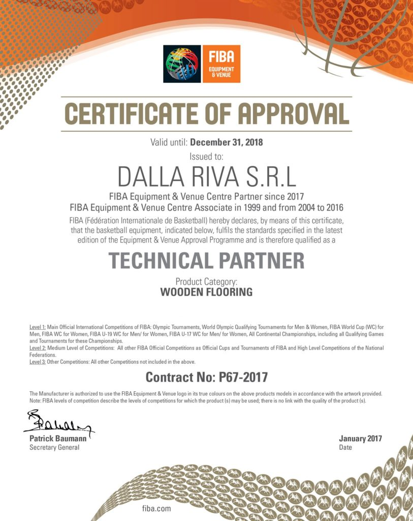 "The document issued by FIBA that recognizes Dalla Riva Sportfloors its ""Technical Partner"""