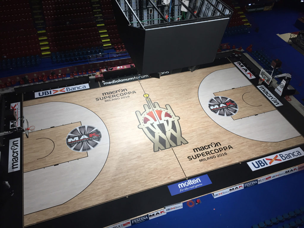 Removable sports floor Dalla Riva for the Mediolanum Forum of Assago