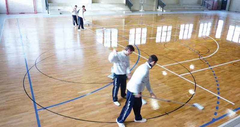 treatment of skating sports parquet floors