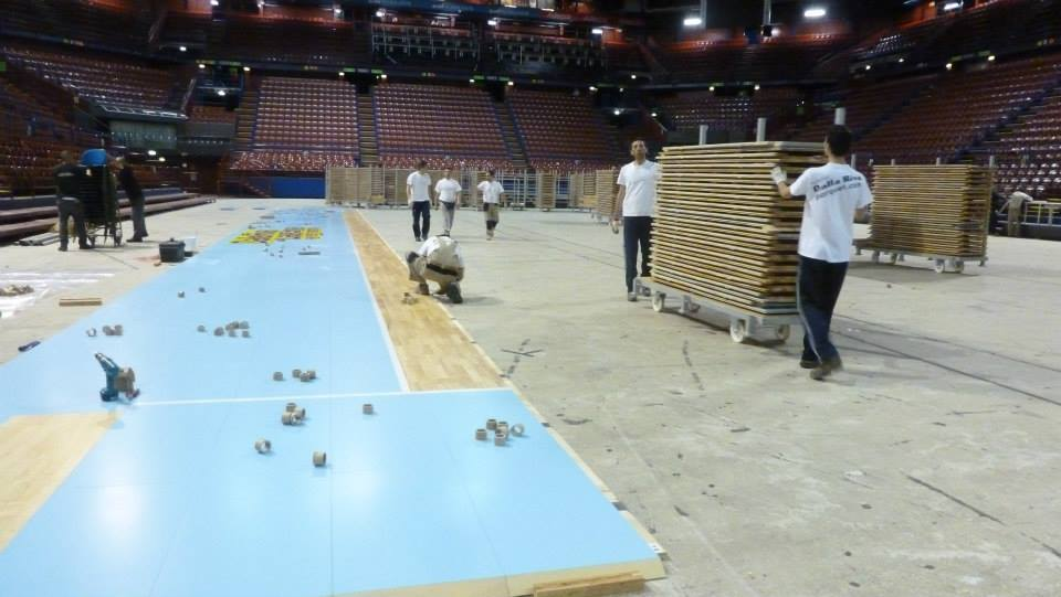 EUROLEAGUE FINAL FOUR 2014 MILAN PORTABLE SPORTS PARQUET FLOOR DALLA RIVA ITALY