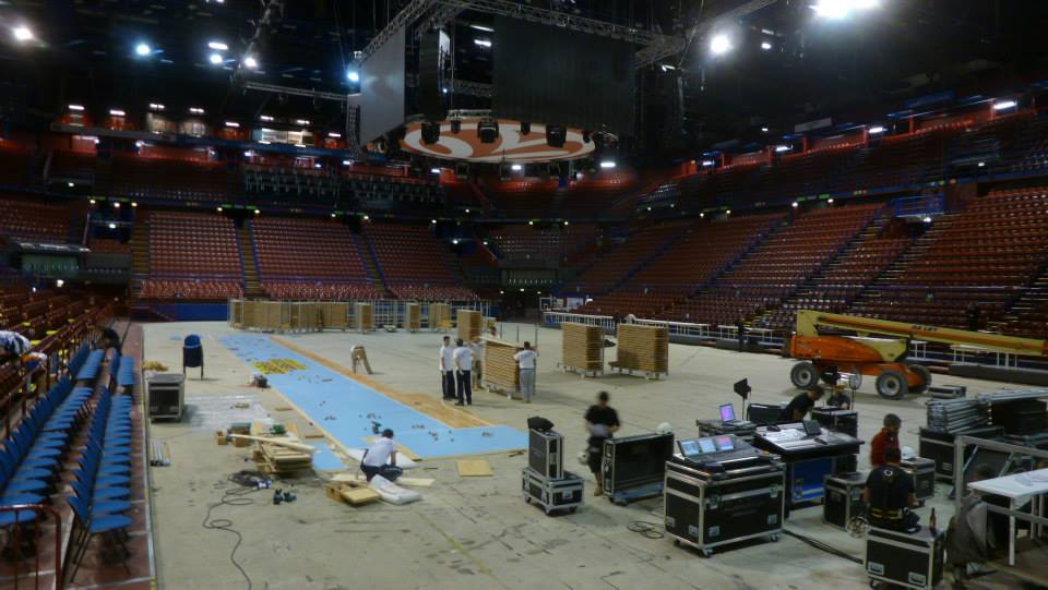 EUROLEAGUE FINAL FOUR 2014 MILAN PORTABLE SPORTS PARQUET FLOOR DALLA RIVA