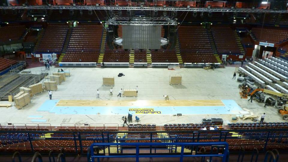 EUROLEAGUE FINAL FOUR 2014 ASSAGO FORUM MILAN PORTABLE SPORTS PARQUET FLOOR DALLA RIVA ITALY