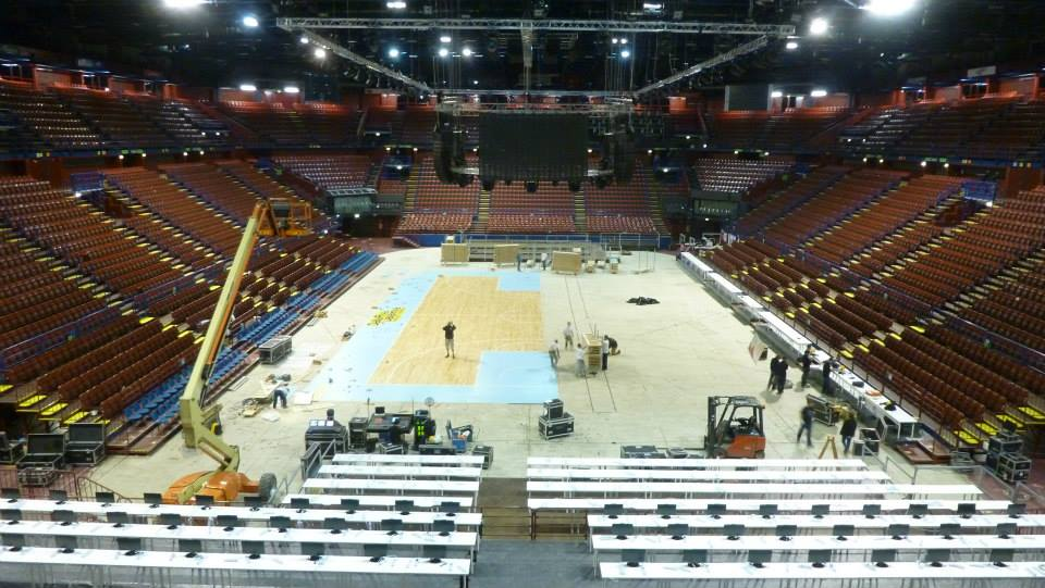 EUROLEAGUE FINAL FOUR 2014 MILAN PORTABLE SPORTS FLOOR DALLA RIVA ITALY