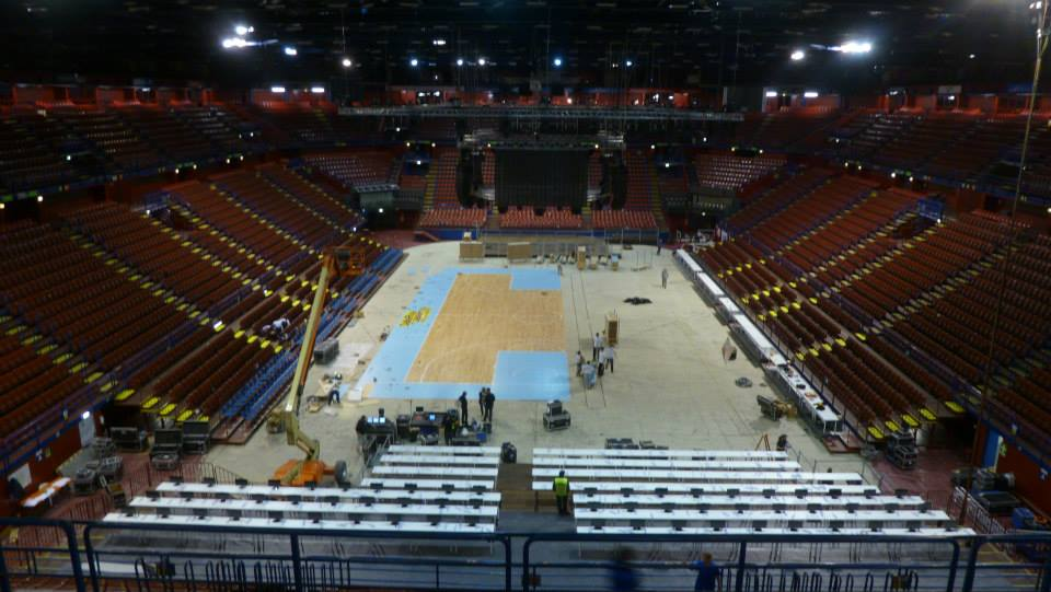 EUROLEAGUE 2014 MILAN PORTABLE SPORTS PARQUET FLOOR DALLA RIVA ITALY