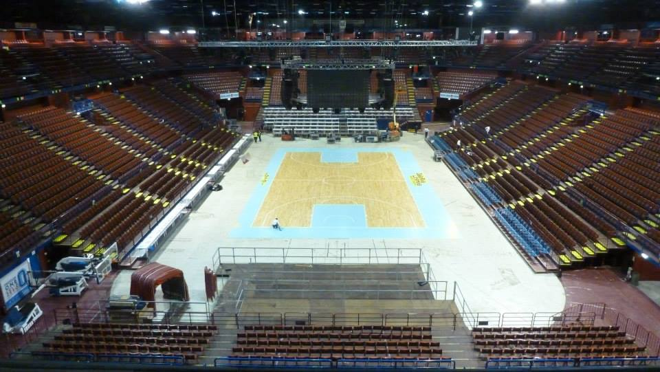 FINAL FOUR 2014 MILAN PORTABLE SPORTS PARQUET FLOOR DALLA RIVA ITALY