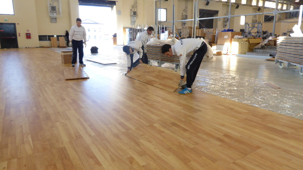 first phase of assembly of the new removable sports floor