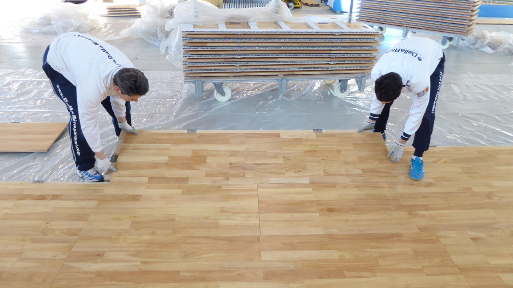 installation of removable sports parquet Dalla Riva Sportfloors Aviano NATO base