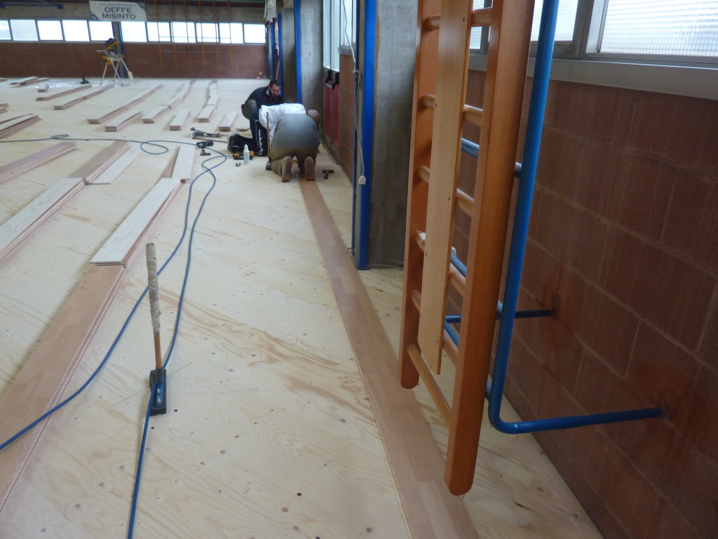 conversion from synthetic to wooden sports floor italy 2015 dalla riva