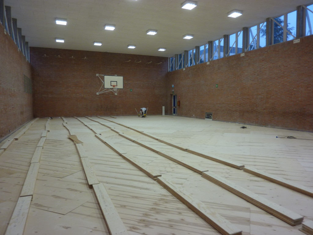 Start the installation phase of the new parquet heated Dalla Riva Sportfloors