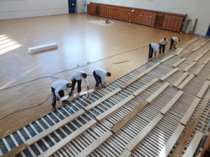 Technical Dalla Riva Sportfloors at work: a guarantee of operation performed in a workmanlike manner