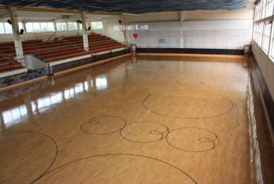 The skating rink of Rence (Slovenia) after the recent maintenance and treatment skating Dalla Riva Sports Parquet