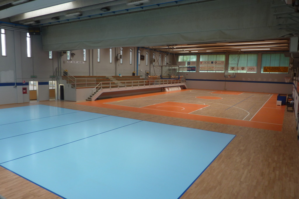Dalla Riva Sportfloors posed single wooden sports surface but drew and painted distinctly rectangles of play for basketball and volleyball