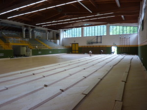 Stages of laying the new sports flooring Dalla Riva Sportfloors