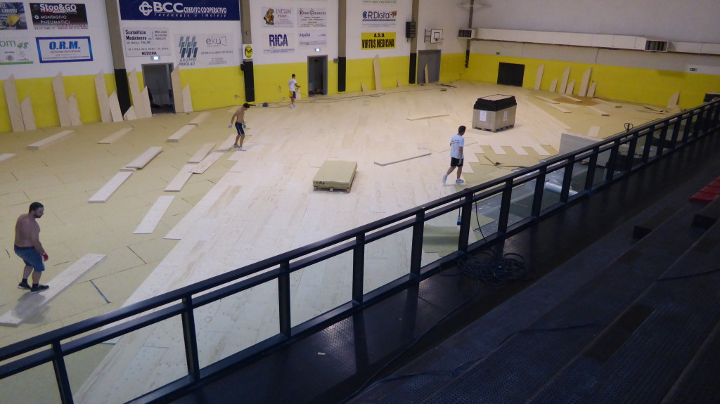 Early stages of intervention staff Dalla Riva Sportfloors in Medicina