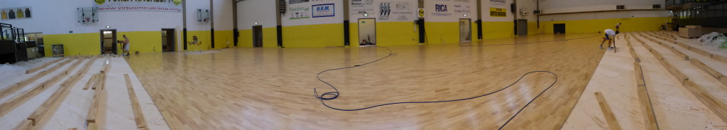 Other stages of installation of the new sports floor made in Montebelluna