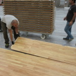 Other stages of laying removable sports floor Dalla Riva Sportfloors