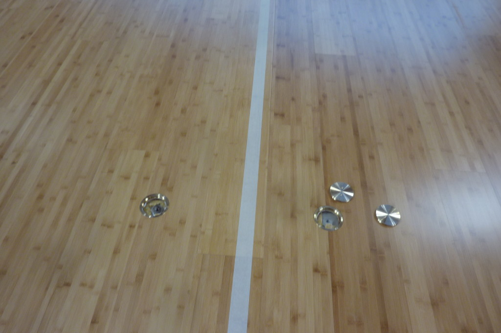 Markings and rings provided by Dalla Riva Sportfloors in order to complete the sports floor of the gymnasium of Salesians