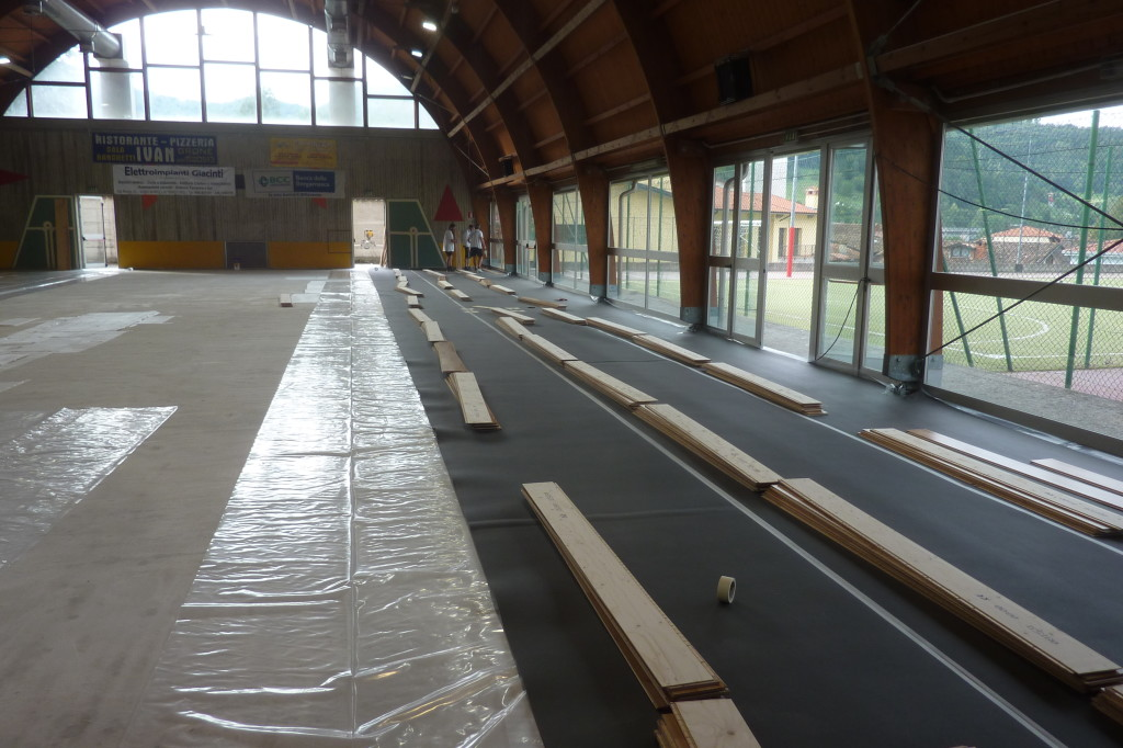 Early stages of installing a new sports  floor Dalla Riva Sportfloors