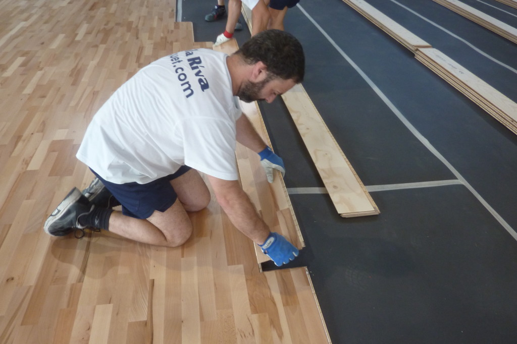 The steps for installing a sports parquet requiring great precision