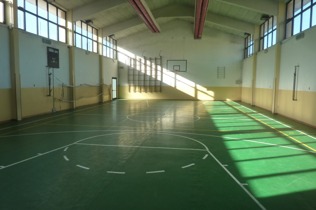 The old pavement of the small gym of Cornedo Vicentino