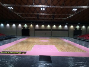 Pink parquet, the portable sports floor of Dalla Riva