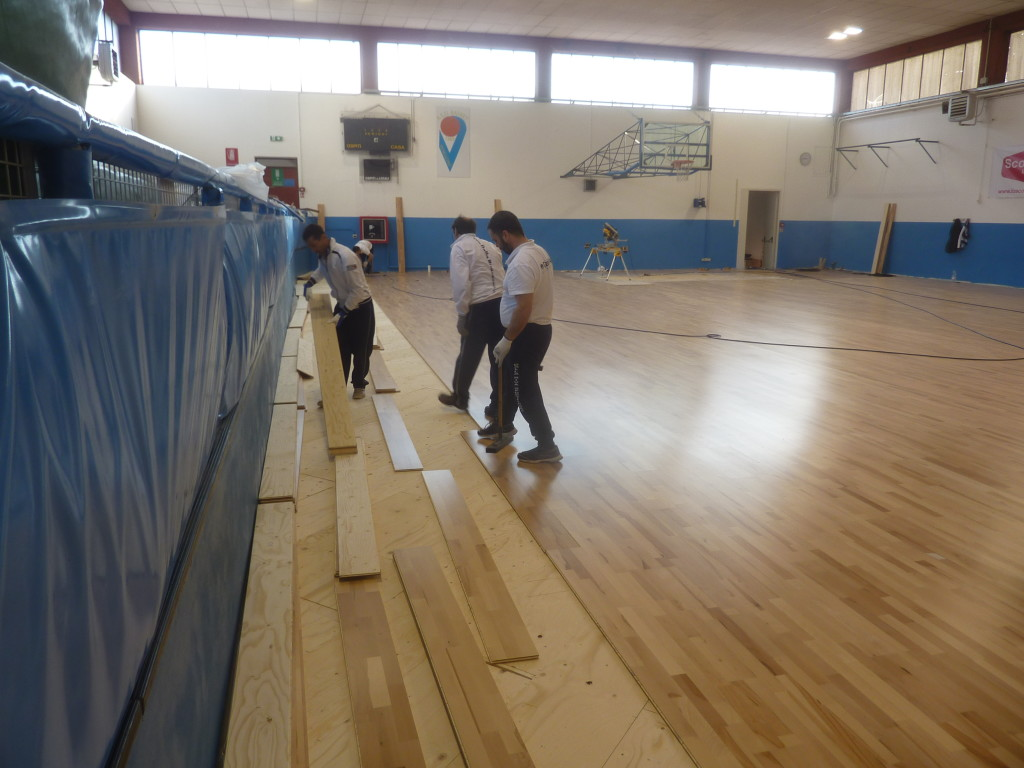 The new sports floor installed by Dalla Riva Sportfloors is in beech