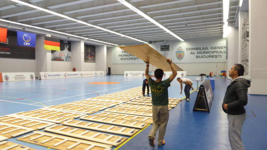 construction phases of the new removable parquet Dalla Riva Sportfloors in Bucharest