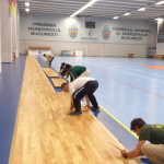 The panels of a removable floor Dalla Riva Sportfloors are easily transportable by hand, even by a single operator