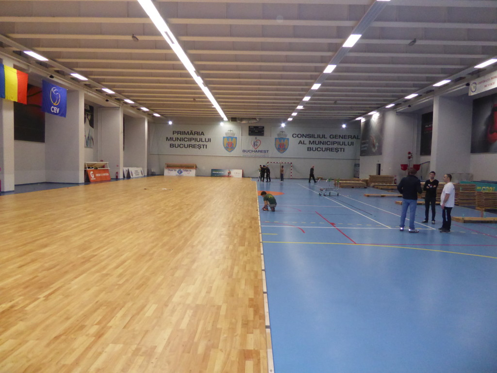 Installation phases of removable flooring Dalla Riva Sportfloors in Bucharest