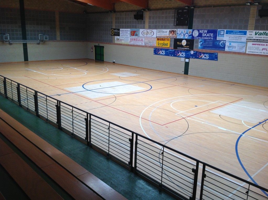 A sports parquet floor dalla riva sportfloors leads to another for Sports flooring