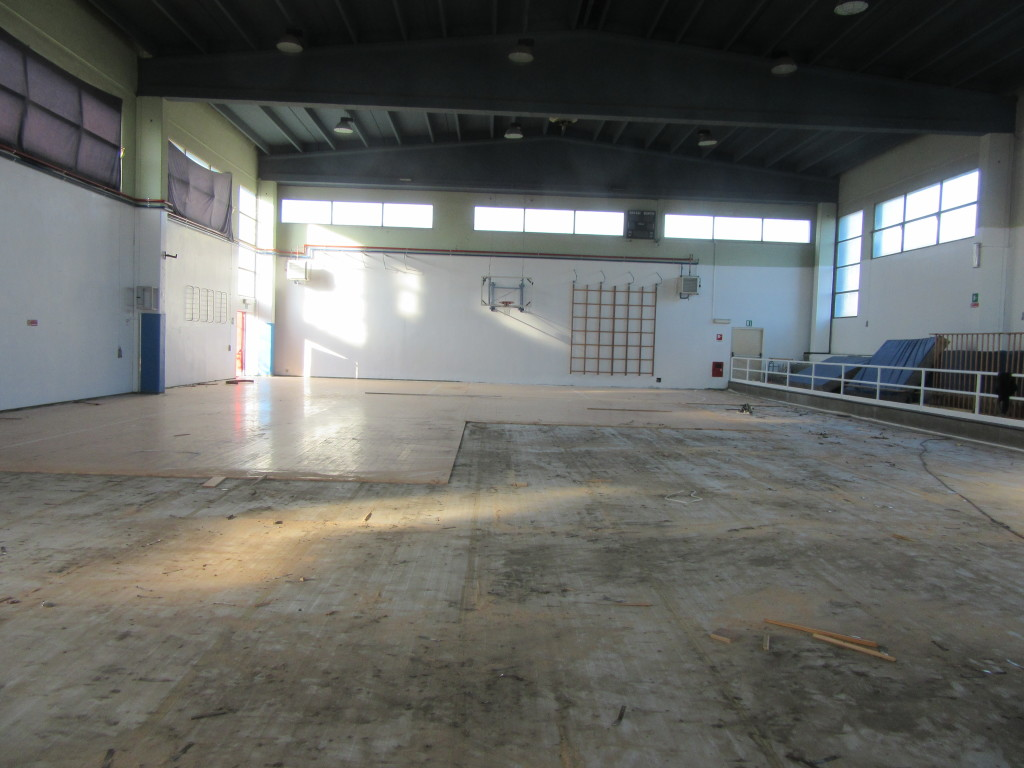 The bottom of the Santhia gym has been rendered unusable by water
