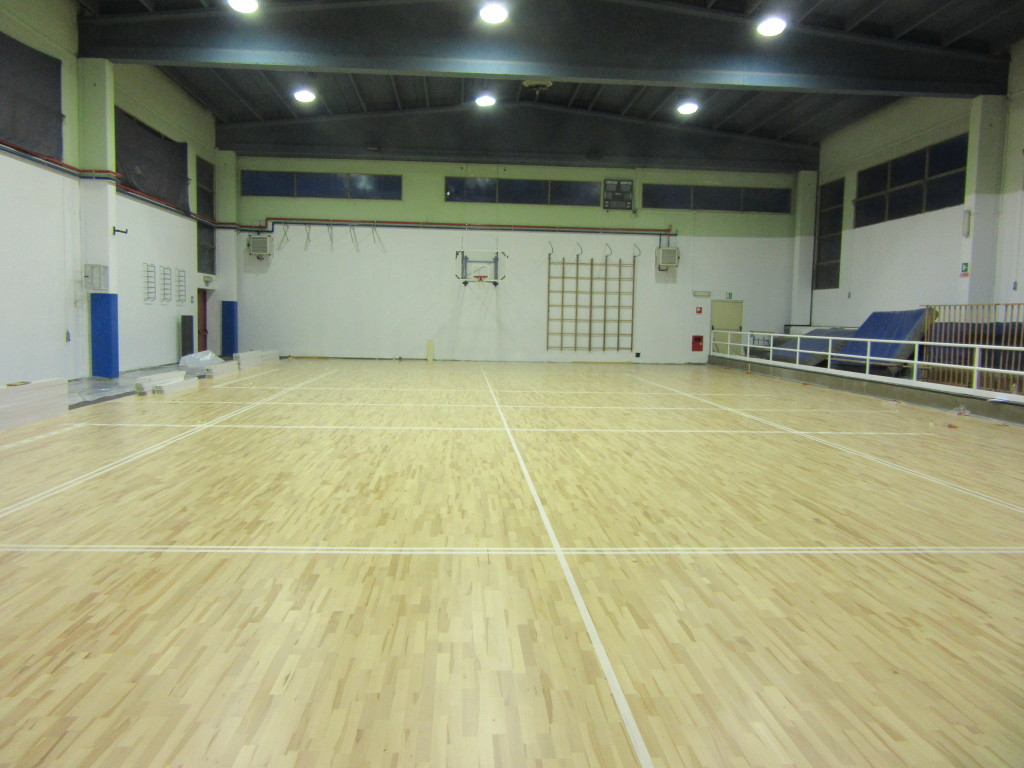 A new sports floor fiba approved for the gym of santhi for Sports flooring