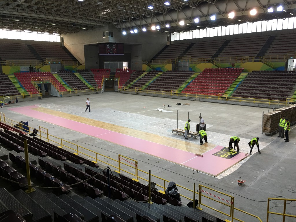 Construction phases of removable flooring Dalla Riva at the Forum in Verona
