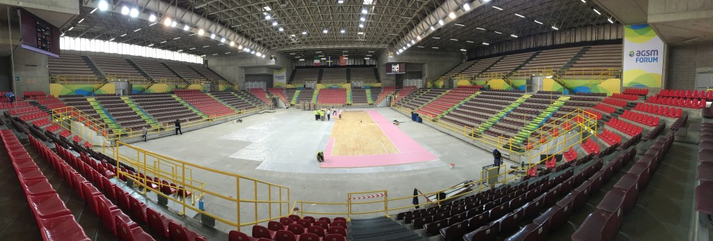 More images from Verona Forum during the assembly stages of parquet Dalla Riva Sportfloors