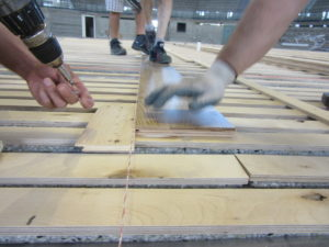 The sport flooring of the gym of Udine provided with radiant heating system