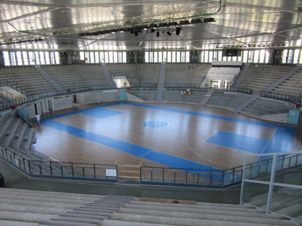 """The new sports floor was customized with a bright paint """"blue Fiba"""""""