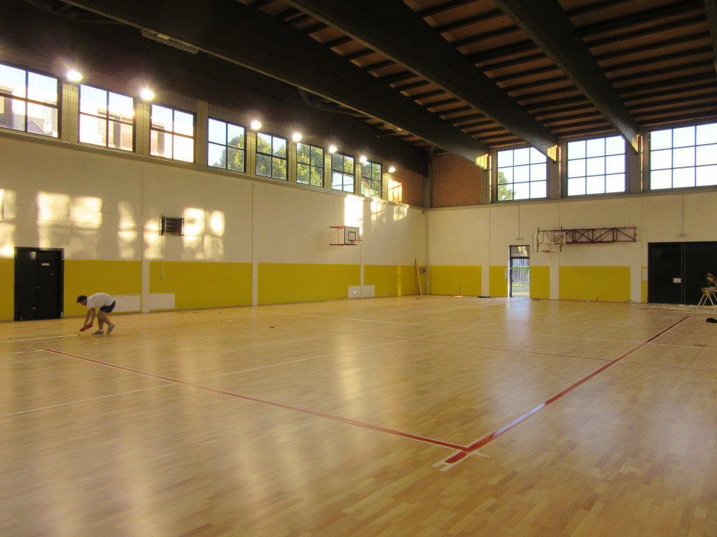 "The new parquet of ""Fauser"" gym in Novara was customized with traditional markings and special markings for skating"