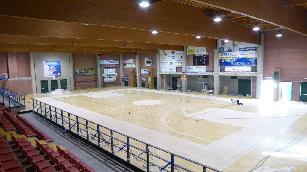Processing stages to the new sports parquet Dalla Riva Sportfloors