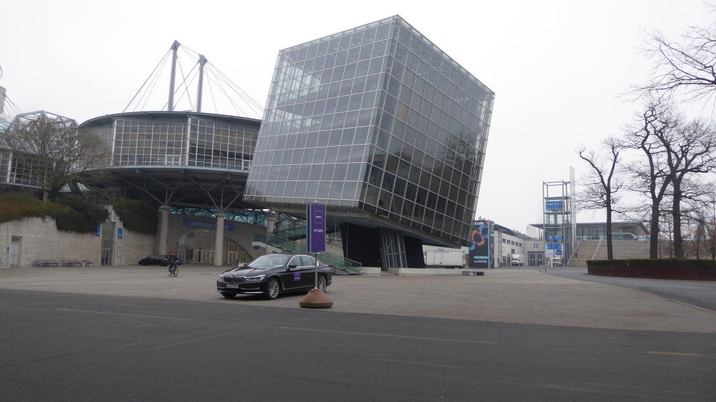 The futuristic buildings within the area of the German fair