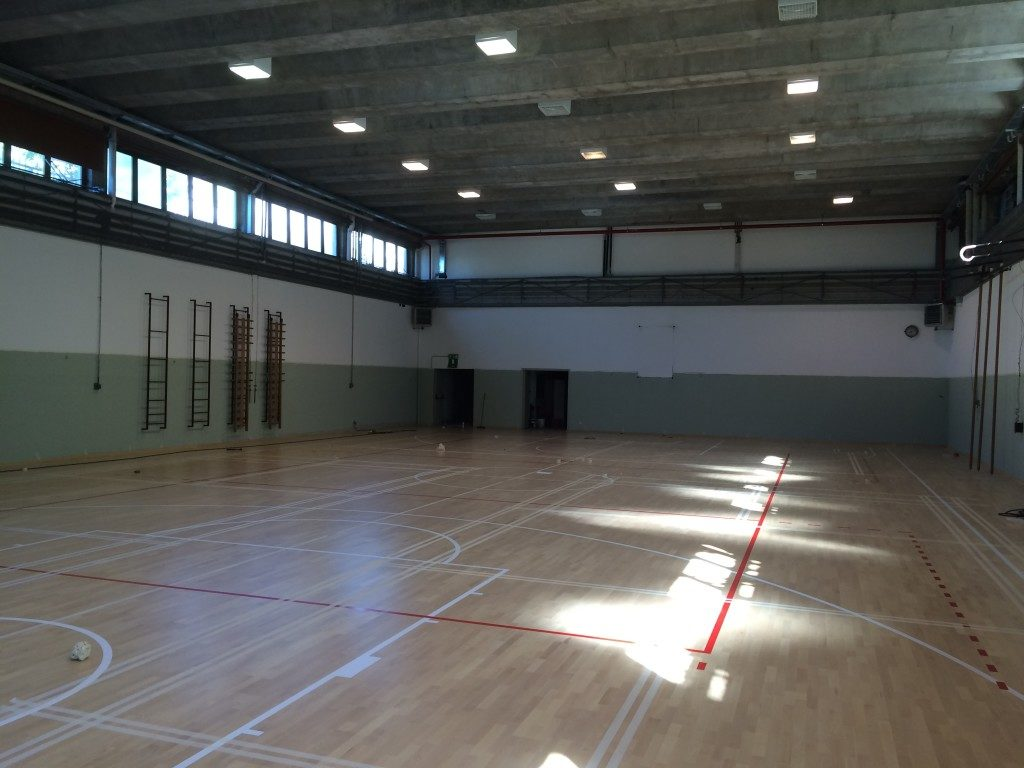 Marking of play areas in the school gym