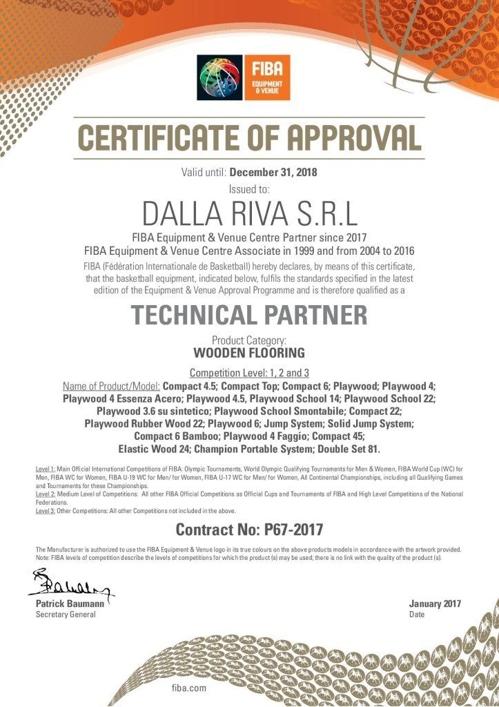 """The document issued by FIBA that recognizes Dalla Riva Sportfloors its """"Technical Partner"""""""