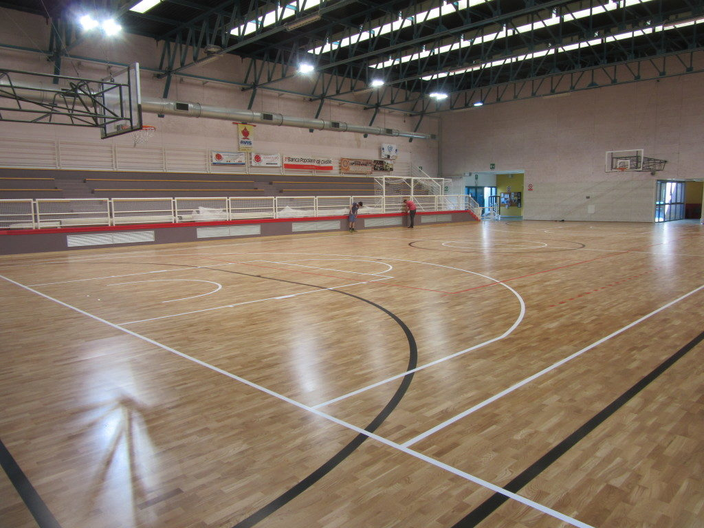 The playing rectangle defined by Dalla Riva Sportfloors in order to host all traditional indoor disciplines