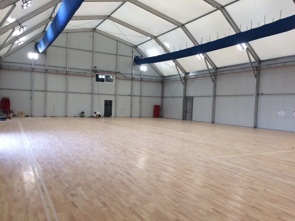 Before the San Andrea School Dalla Riva had installed a wood floor in a large gym at Ta Qali