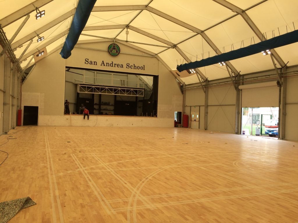 On the sports parquet of St Paul's Bay gym is visible the predisposition for new markings