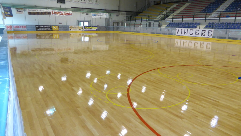 To make the parquet more durable they were applied three coats of special paint skating