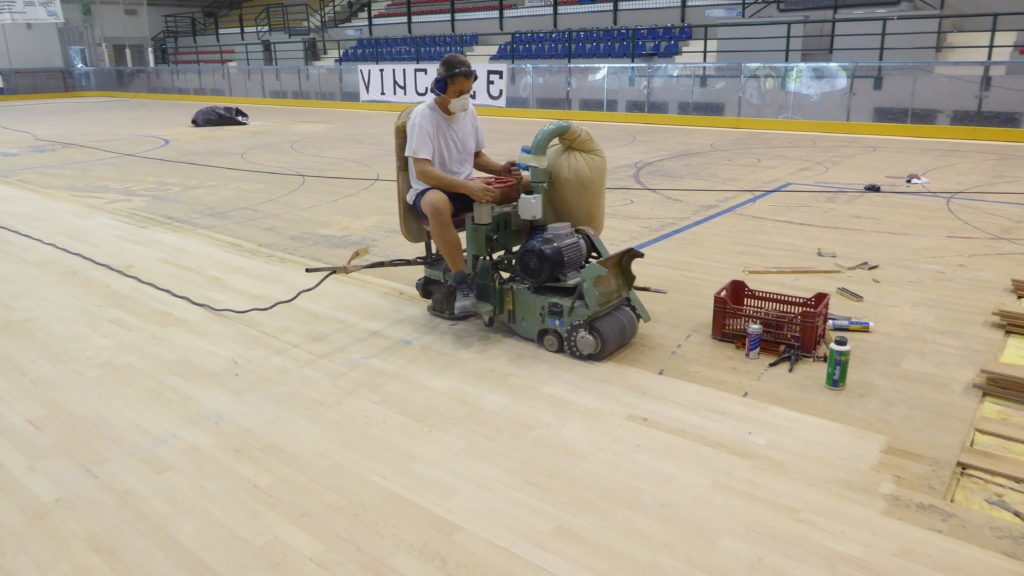 Sports parquet-grinding surgery is performed by  Dalla Riva Sportfloors with special tools and equipment