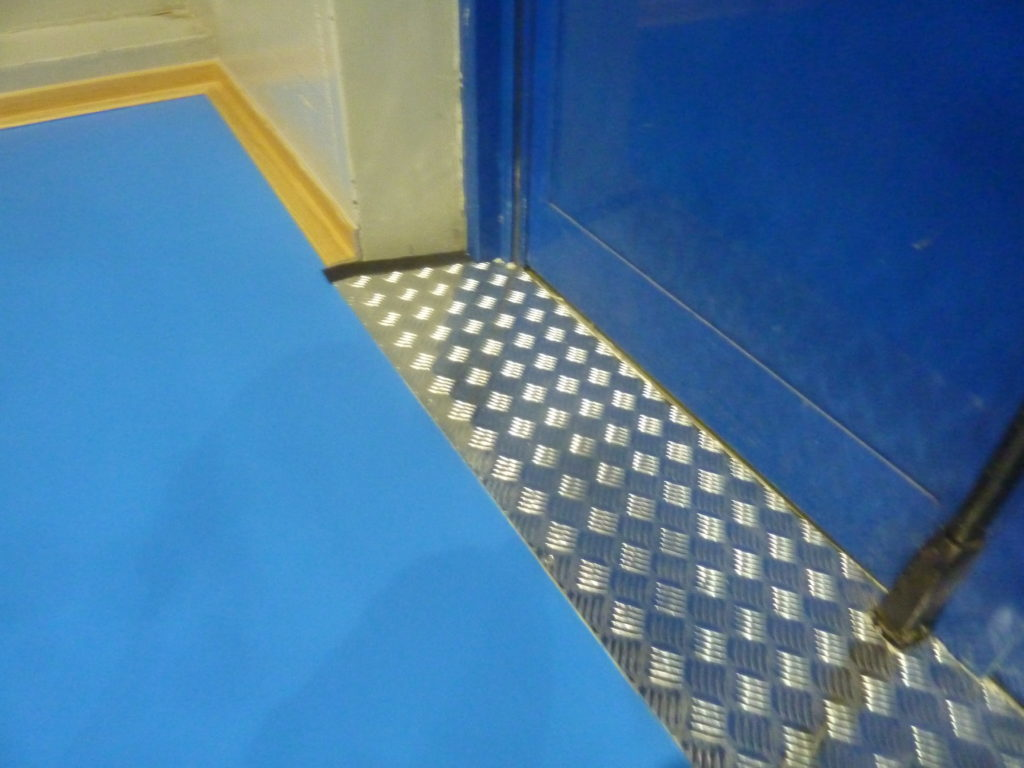 A detail of the slide of the the sports flooring Dalla Riva Sportfloors
