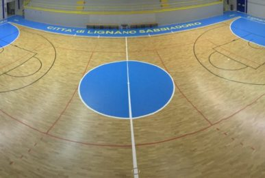A particular image of finished parquet work Dalla Riva installed in the palasport