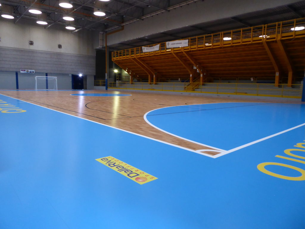 "Another perspective of the new sports floor of Lignano's palasport with the ""signing"" of Dalla Riva Sportfloors"