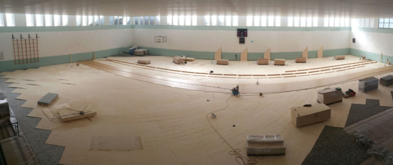 Other phases of installation of the sports floor Dalla Riva Sportfloors in PalaCardella of Erice